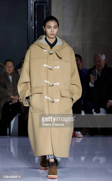 Model walks the runway during the Fumito Ganryu Menswear Fall/Winter 2019-2020 show as part of Paris Fashion Week on January 15, 2019 in Paris,...