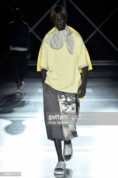 Model walks the runway during the Fumito Ganryu Menswear Spring Summer 2020 show as part of Paris Fashion Week on June 18, 2019 in Paris, France.