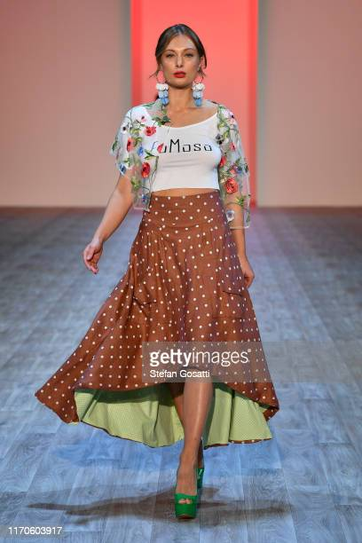 Model walks the runway during the FuMoso Collections show during New Zealand Fashion Week 2019 at Auckland Town Hall on August 28, 2019 in Auckland,...