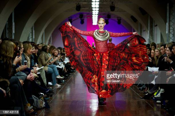 A model walks the runway during the Fyodor Golan show at London Fashion Week Autumn/Winter 2012 at Somerset House on February 17 2012 in London...