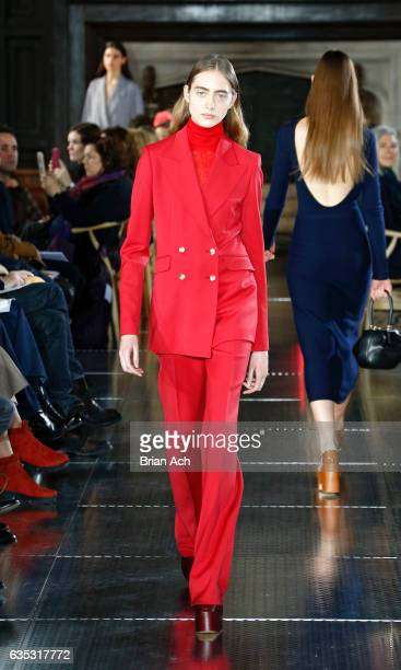 A model walks the runway during the Gabriela Hearst fashion show at the High Line Hotel The Refectory during New York Fashion Week on February 14...