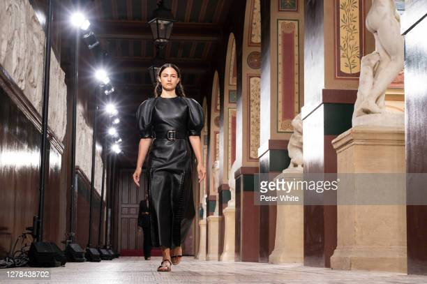 Model walks the runway during the Gabriela Hearst Womenswear Spring/Summer 2021 show as part of Paris Fashion Week on October 04, 2020 in Paris,...