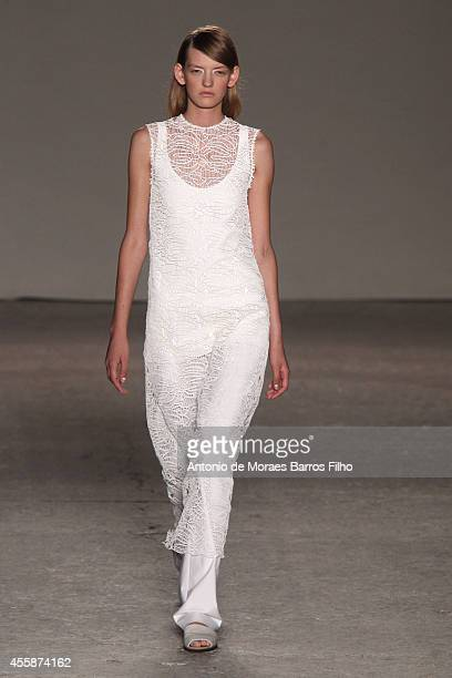 Model walks the runway during the Gabriele Colangelo show as a part of Milan Fashion Week Womenswear Spring/Summer 2015 on September 20, 2014 in...