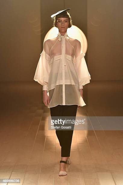 A model walks the runway during the Gail Sorronda show at MercedesBenz Fashion Week Australia 2015 at Carriageworks on April 16 2015 in Sydney...
