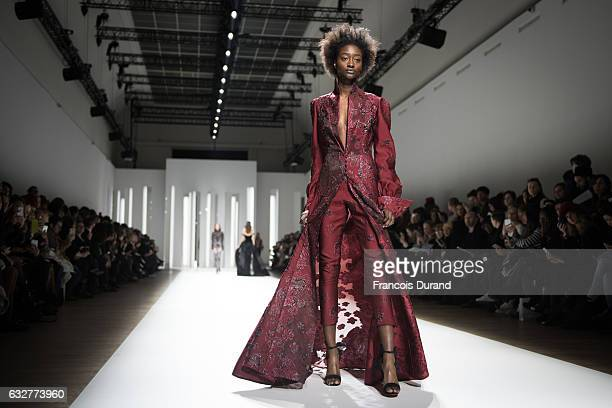 A model walks the runway during the Galia Lahav Spring Summer 2017 show as part of Paris Fashion Week on January 26 2017 in Paris France