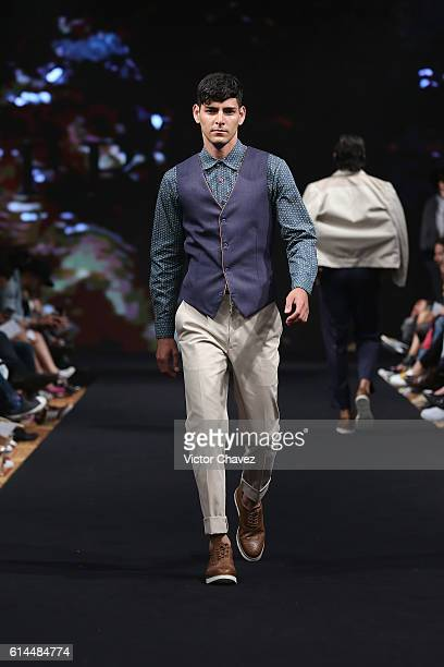 A model walks the runway during the Galo Bertin show at MercedesBenz Fashion Week Mexico Spring/Summer 2017 at Maria Isabel Sheraton hotel on October...