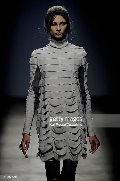 A model walks the runway during the Gareth Pugh Pret a Porter show as part of the Paris Womenswear Fashion Week Spring/Summer 2010 at Palais De Tokyo...