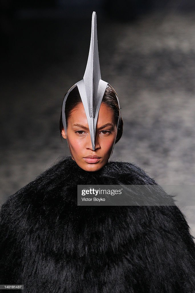 A model walks the runway during the Gareth Pugh Ready-To-Wear Fall/Winter 2012 show as part of Paris Fashion Week at Garage Turenne on February 29, 2012 in Paris, France.