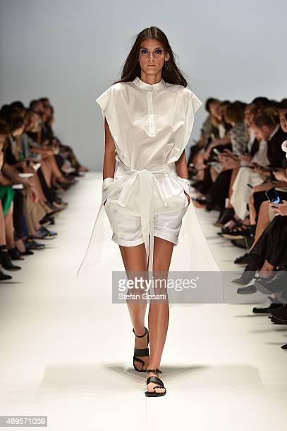 A model walks the runway during the Gary Bigeni show at MercedesBenz Fashion Week Australia 2015 at Carriageworks on April 13 2015 in Sydney Australia