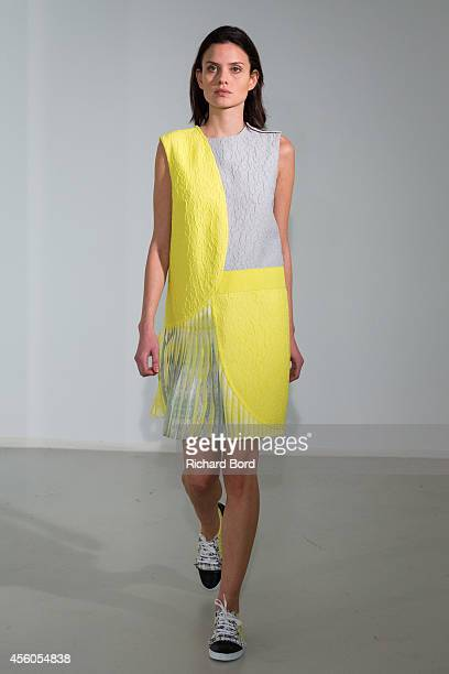 Model walks the runway during the Gauchere Presentation as part of the Paris Fashion Week Womenswear Spring/Summer 2015 on September 24, 2014 in...
