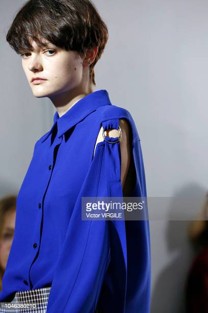 A model walks the runway during the Gauchere Ready to Wear fashion show as part of the Paris Fashion Week Womenswear Spring/Summer 2019 on September...