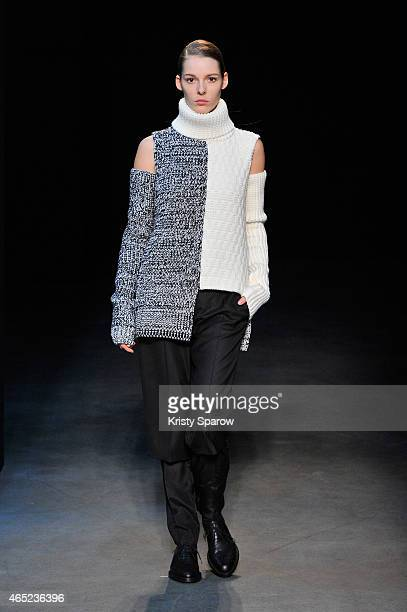 A model walks the runway during the Gauchere show as part of Paris Fashion Week Womenswear Fall/Winter 2015/2016 at Yoyo Palais De Tokyo on March 4...