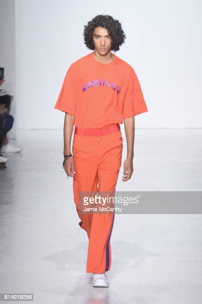 A model walks the runway during the General Idea Runway NYFW Men's July 2017 at Skylight Clarkson Sq on July 13 2017 in New York City