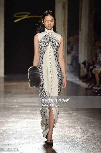 Model walks the runway during the Genny fashion show as part of Milan Fashion Week Fall/Winter 2020-2021 on February 20, 2020 in Milan, Italy.