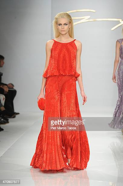 A model walks the runway during the Genny Show as part of Milan Fashion Week Womenswear Autumn/Winter 2014 on February 21 2014 in Milan Italy