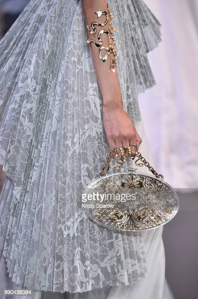 A model walks the runway during the George Hobeika Haute Couture Fall Winter 2018/2019 show as part of Paris Fashion Week on July 2 2018 in Paris...