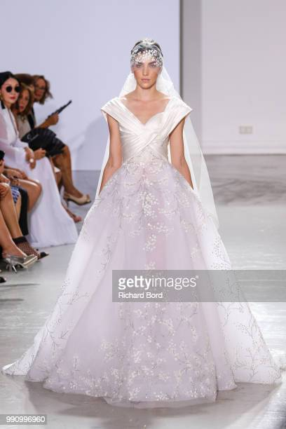 A model walks the runway during the Georges Chakra Haute Couture Fall Winter 2018/2019 show as part of Paris Fashion Week on July 3 2018 in Paris...