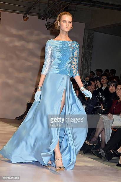 A model walks the runway during the Georges Chakra show as part of Paris Fashion Week Haute Couture Spring/Summer 2015>> on January 29 2015 in Paris...