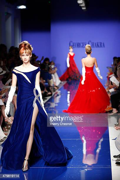 A model walks the runway during the Georges Chakra show as part of Paris Fashion Week Haute Couture Fall/Winter 2015/2016 on July 7 2015 in Paris...