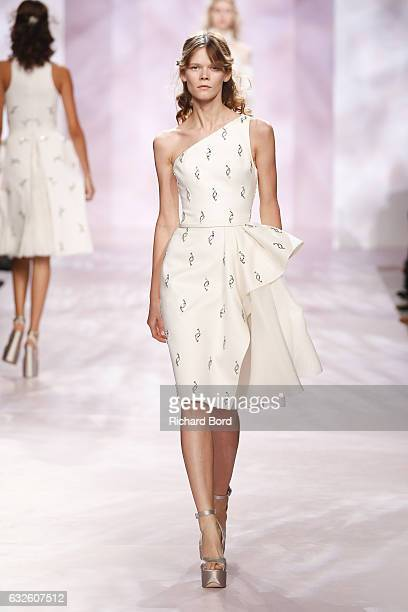 A model walks the runway during the Georges Chakra Spring Summer 2017 show as part of Paris Fashion Week on January 24 2017 in Paris France