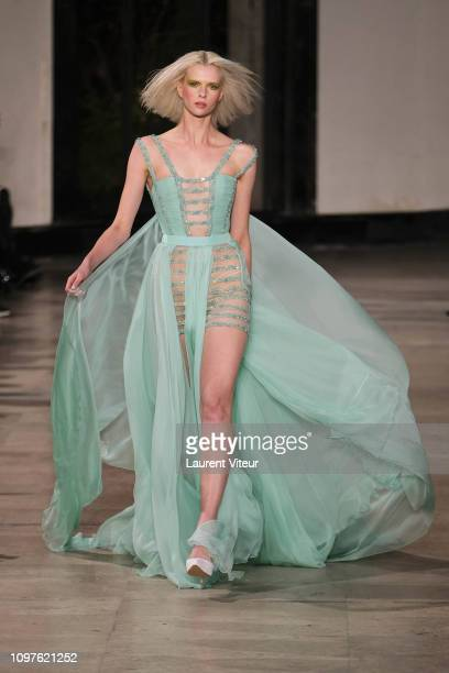 Model walks the runway during the Georges Chakra Spring Summer 2019 show as part of Paris Fashion Week on January 21, 2019 in Paris, France.