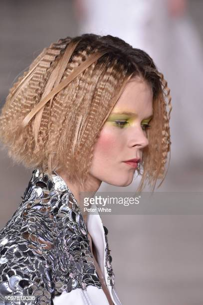 A model walks the runway during the Georges Chakra Spring Summer 2019 show as part of Paris Fashion Week on January 21 2019 in Paris France