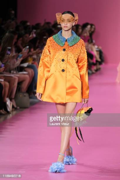 A model walks the runway during the Georges Hobeika Haute Couture Fall/Winter 2019 2020 show as part of Paris Fashion Week on July 01 2019 in Paris...