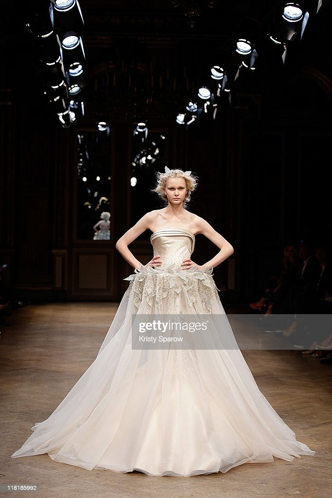 A model walks the runway during the Georges Hobeika Haute Couture Fall/Winter 2011/2012 show as part of Paris Fashion Week at Hotel Westin on July 4, 2011 in Paris, France.