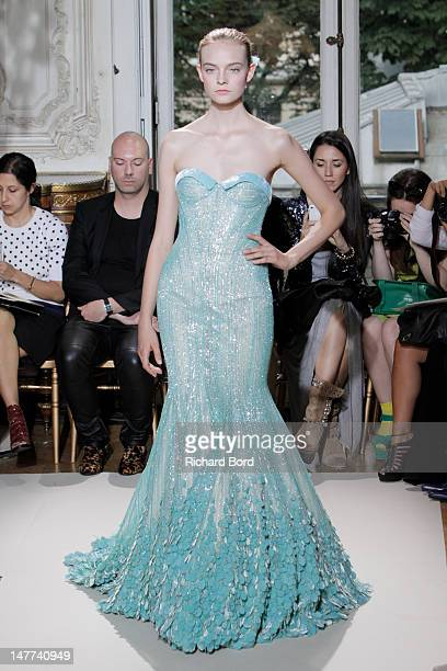 Model walks the runway during the Georges Hobeika Haute-Couture Show as part of Paris Fashion Week Fall/Winter 2012/13 at Salon France-Ameriques on...