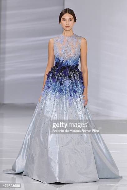 Model walks the runway during the Georges Hobeika show as part of Paris Fashion Week Haute Couture Fall/Winter 2015/2016 on July 6, 2015 in Paris,...