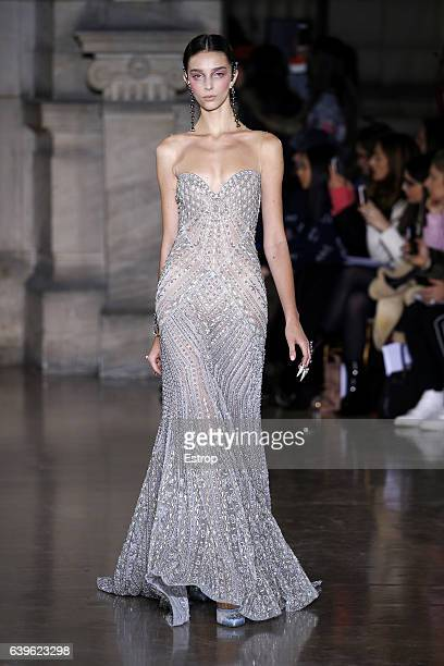 Model walks the runway during the Georges Hobeika Spring Summer 2017 show as part of Paris Fashion Week on January 23, 2017 in Paris, France.