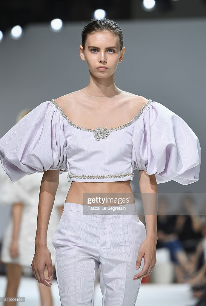 A model walks the runway during the Giambattista Valli Haute Couture Fall/Winter 2016-2017 show as part of Paris Fashion Week on July 4, 2016 in Paris, France.
