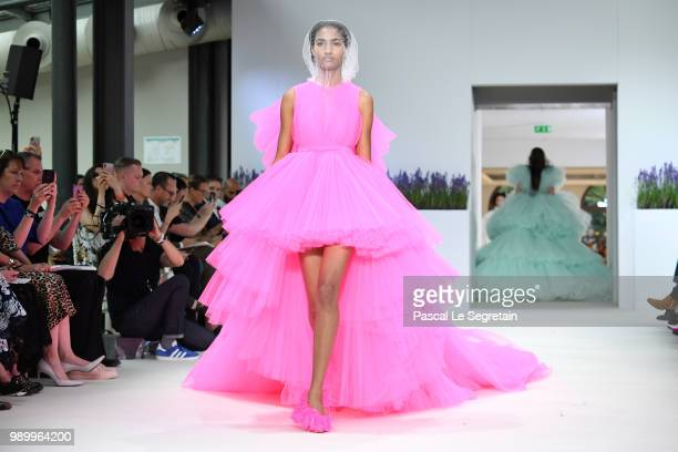 A model walks the runway during the Giambattista Valli Haute Couture Fall Winter 2018/2019 show as part of Paris Fashion Week on July 2 2018 in Paris...