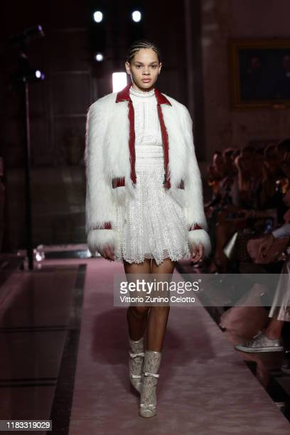 Model walks the runway during the Giambattista Valli Loves H&M show on October 24, 2019 in Rome, Italy.