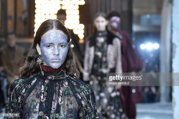 A model walks the runway during the Giambattista Valli Ready to Wear fashion show as part of the Paris Fashion Week Womenswear Fall/Winter 2018/2019...