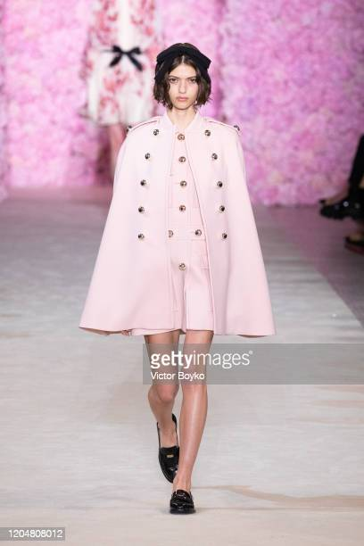 Model walks the runway during the Giambattista Valli show as part of the Paris Fashion Week Womenswear Fall/Winter 2020/2021 on March 2, 2020 in...