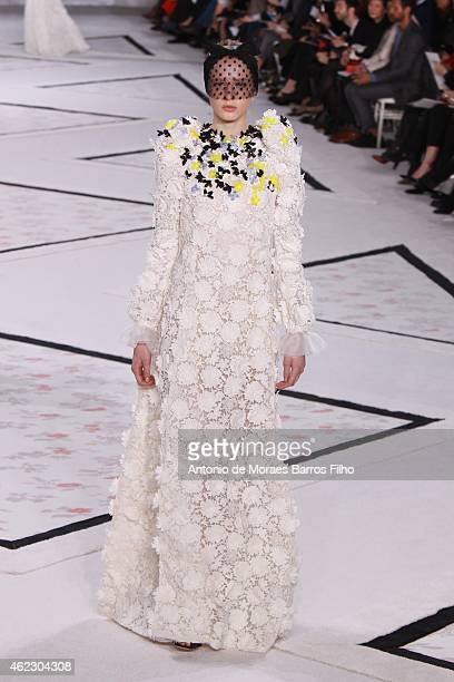 A model walks the runway during the Giambattista Valli show as part of Paris Fashion Week Haute Couture Spring/Summer 2015 on January 26 2015 in...