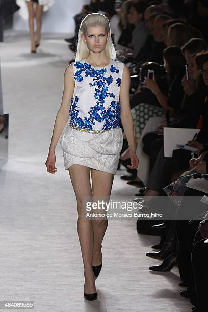 A model walks the runway during the Giambattista Valli show as part of Paris Fashion Week Haute Couture Spring/Summer 2014 on January 20 2014 in...
