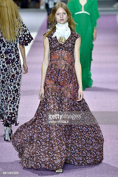 A model walks the runway during the Giambattista Valli show as part of the Paris Fashion Week Womenswear Spring/Summer 2016 on October 5 2015 in...