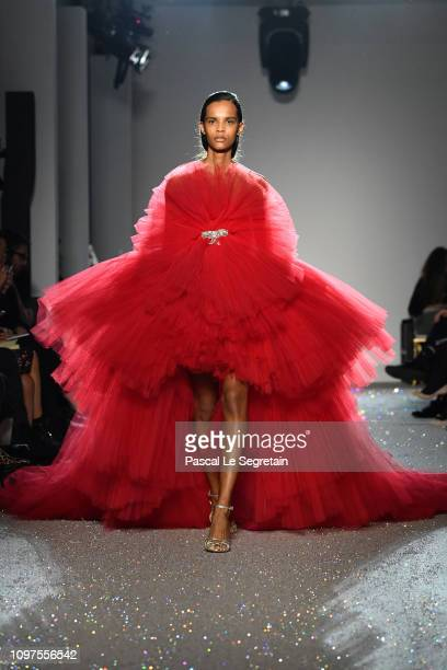 Model walks the runway during the Giambattista Valli Spring Summer 2019 show as part of Paris Fashion Week on January 21, 2019 in Paris, France.