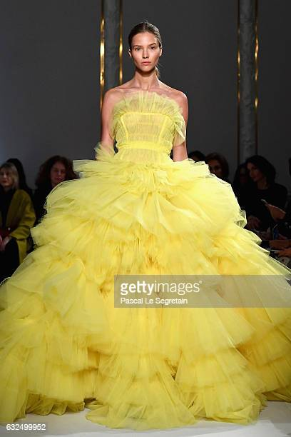A model walks the runway during the Giambattista Valli Spring Summer 2017 show as part of Paris Fashion Week on January 23 2017 in Paris France