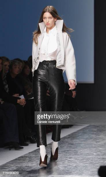 Model walks the runway during the Gianfranco Ferre fashion show as part of Milan Fashion Week Autumn/Winter 2008/09 on February 18, 2008 in Milan,...