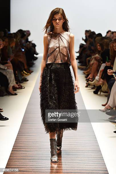 A model walks the runway during the Ginger Smart show at MercedesBenz Fashion Week Australia 2015 at Carriageworks on April 14 2015 in Sydney...