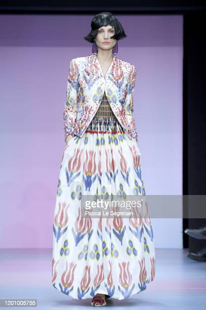 Model walks the runway during the Giorgio Armani Prive Haute Couture Spring/Summer 2020 show as part of Paris Fashion Week on January 21, 2020 in...