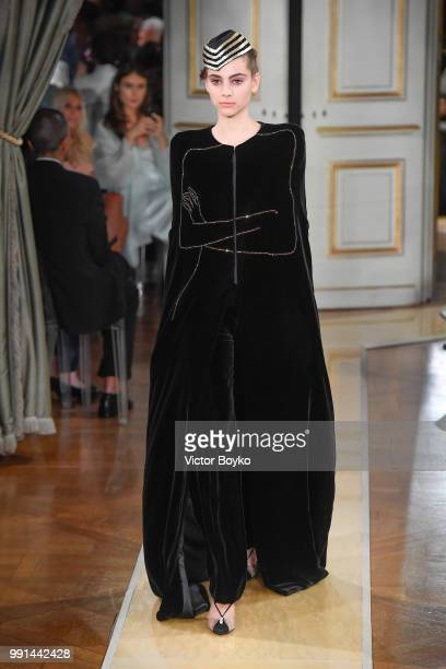 A model walks the runway during the Giorgio Armani Prive Haute Couture Fall/Winter 20182019 show as part of Haute Couture Paris Fashion Week on July...
