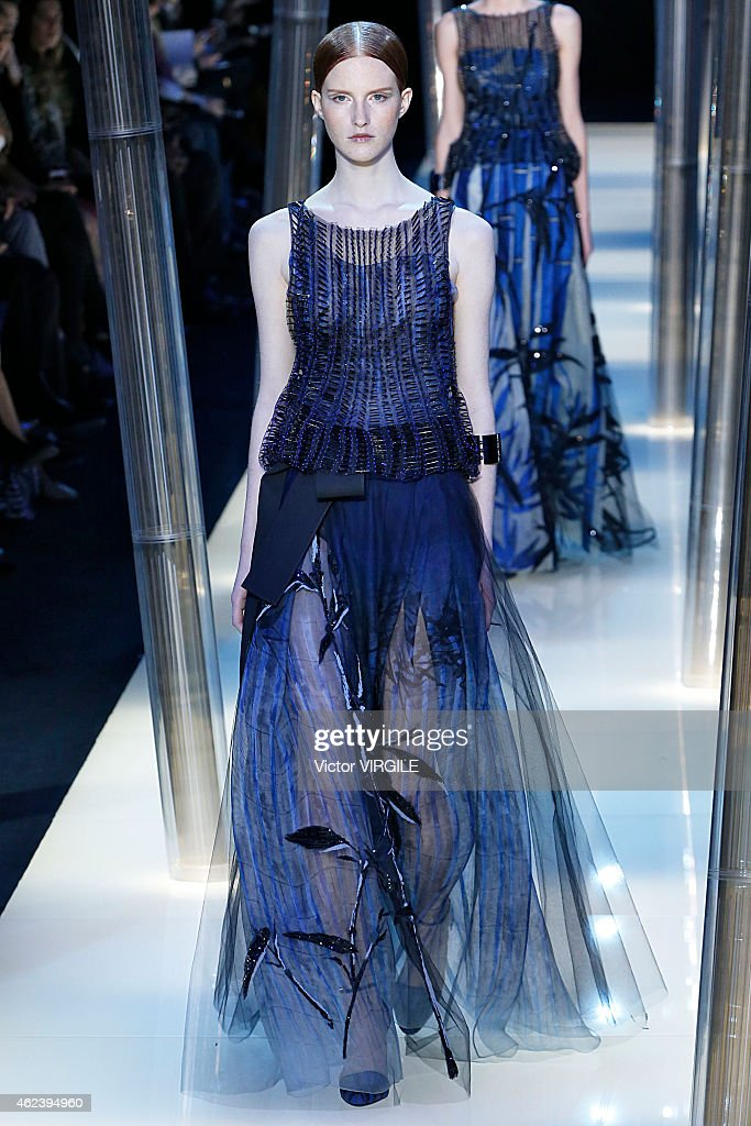 A model walks the runway during the Giorgio Armani Prive show as part of Paris Fashion Week Haute Couture Spring/Summer 2015 on January 27, 2015 in Paris, France.