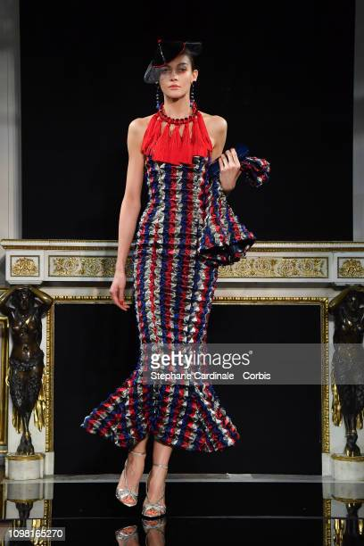 Model walks the runway during the Giorgio Armani Prive Spring Summer 2019 show as part of Paris Fashion Week on January 22, 2019 in Paris, France.