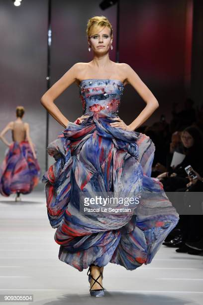 Model walks the runway during the Giorgio Armani Prive Spring Summer 2018 show as part of Paris Fashion Week on January 23, 2018 in Paris, France.