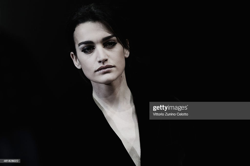 A model walks the runway during the Giorgio Armani Show as part of Milan Menswear Fashion Week Fall Winter 2015/2016 on January 20, 2015 in Milan, Italy.