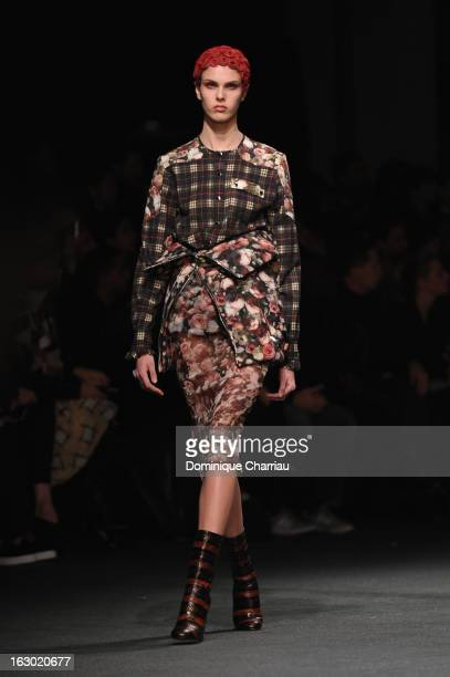 Model walks the runway during the Givenchy Fall/Winter 2013 Ready-to-Wear show as part of Paris Fashion Week on March 3, 2013 in Paris, France.